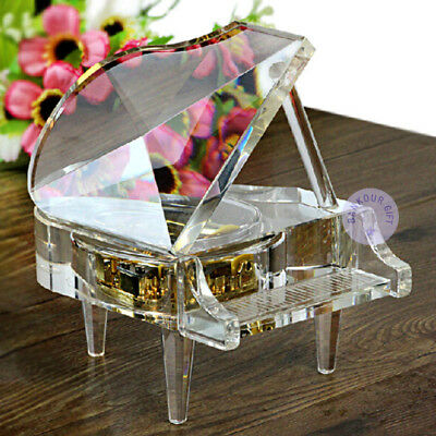 """Deportment """"Canon in D Major"""" Crystal Piano Music Box With Sankyo Melodic Movement"""