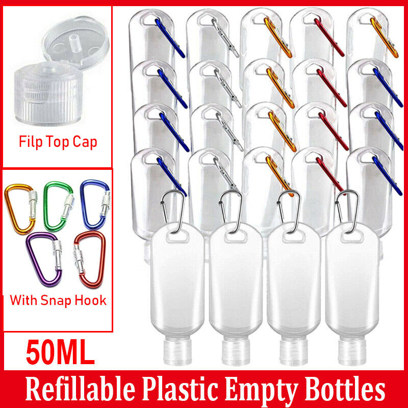 US 20X Refillable Empty Bottle With Key Ring Outdoor Travel Cleaning Container