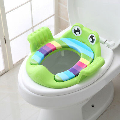 - Baby Handle Toilet Seat Soft Pad Portable Frog Cushion Trainer Potty Training