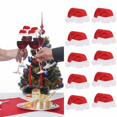10pcs Table Place Cards Christmas Santa Claus Hat Red Wine Glass Decoration Cup