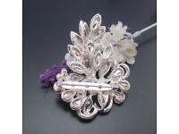 Sparkly Rhinestone Silver Brooch