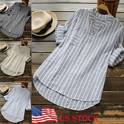 Plus Size Adult (Womens Summer Striped V Neck Blouses Loose Baggy Tops Tunic T Shirts Plus)