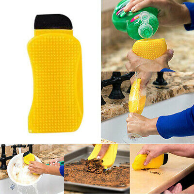 Washing Cleaning Brush Tool Multi-Function Kitchen Silicone Sponge Scrubber