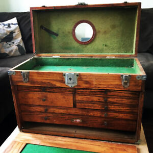 SUPERB STAR MACHINIST CHEST W DRAWERS JEWELRY CUTLERY TOOLS