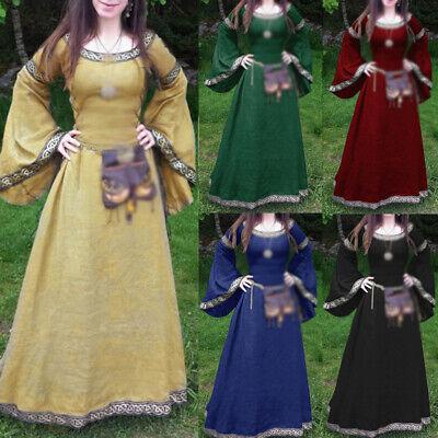 Mittelalter Kleid Frauen Kostüm Baumwolle Vintage Renaissance Gothic -
