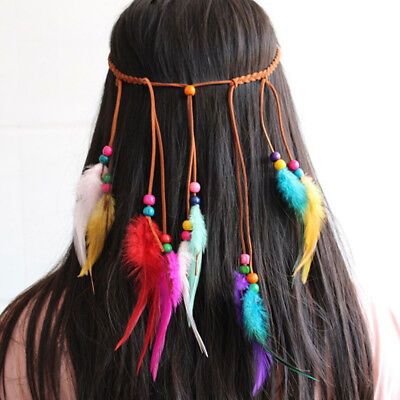 Bohemian Hair Band Feather Colorful Headband Peacock Head For Girls Accessories (Peacock Colors For Wedding)