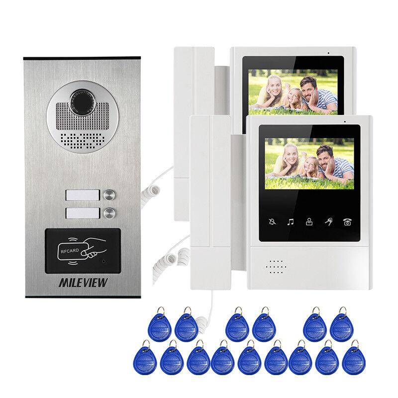 "4.3"" Handheld Video Intercom Door Phone System 2 Monitors Camera for 2 Apartment"