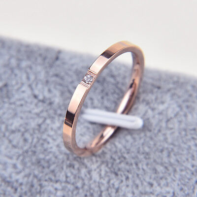 (Stainless Steel White Sapphire Couple Simple Ring Silver/Rose Gold Band Size3-10)