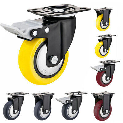 Heavy Duty Swivel Plate Casters 3 4 5 Polyurethane Wheels Total Lock Brake Us