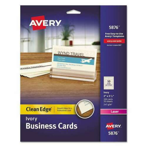 "Avery Laser Clean Edge Business Cards, 2"" x 3 1/2"", Ivory, Pack Of 200"