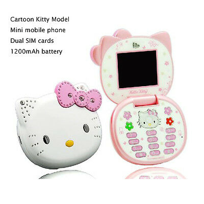 Unlocked Hello Kitty Mini Mobile Cell Phone Flip GSM Phone For Kids Girls