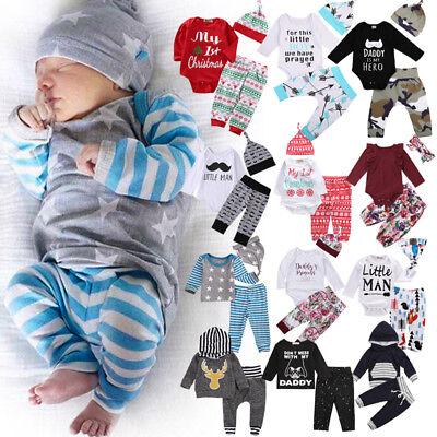 USA Newborn Baby Boys Girls Santa Romper T-shirt Pants Outfits Clothes hgtrewq