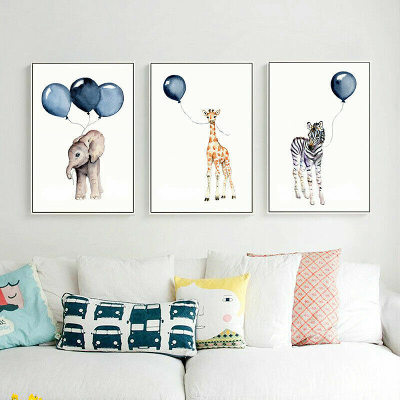 Elephant Zebra Giraffe Baby Room Hanging Wall Posters Painting Art Nursery Decor | EBay