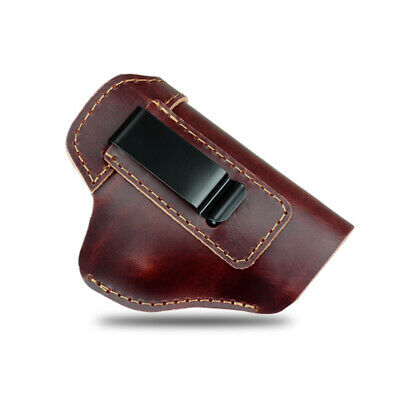 Universal Brown Leather IWB Right Hand Pistol Holster Fit Glock 17 19 26 43 S&W