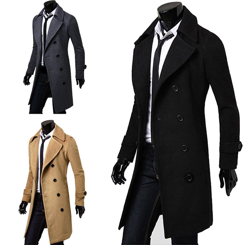 Formal Trench Coat Double Breasted Peacoat Overcoat Men ...