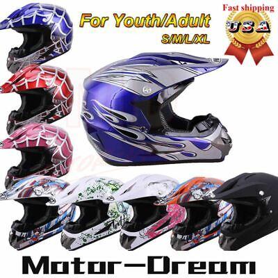 DOT Youth/Kids Motorcycle Motocross Dirt Bike Helmet ATV Racing Helmets -