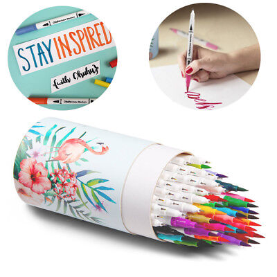 Ohuhu 60 Color Water Based Marker Highlighter Pens Dual Tips Calligraphy Drawing
