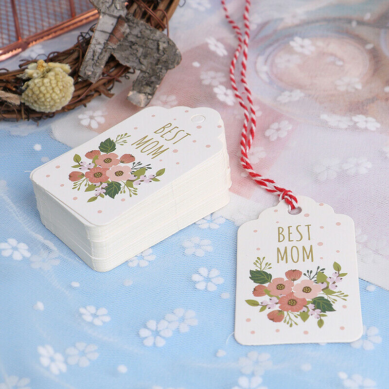 50pcs/set best Mom Mothers Day Tag Garment Label Paper Tag Gift `SG