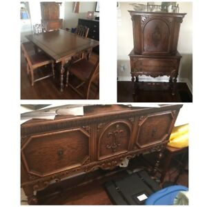 Jacobean Antique 7 pc Dining Room Table, Chairs  & Hutches