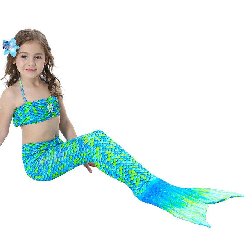 Kinder Meerjungfrau Kostüm Mädchen Bademode Badeanzug Cosplay Sommer Bikini Set Grün