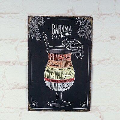 Bahama Mama Cocktail Metal Tin Sign Bar Pub Home Retro Poster Cafe Art