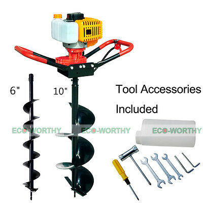 "ECO 52cc Power Engine 2.2HP Gas Powered Post Hole Digger 6"" + 10"" Auger Bits US"