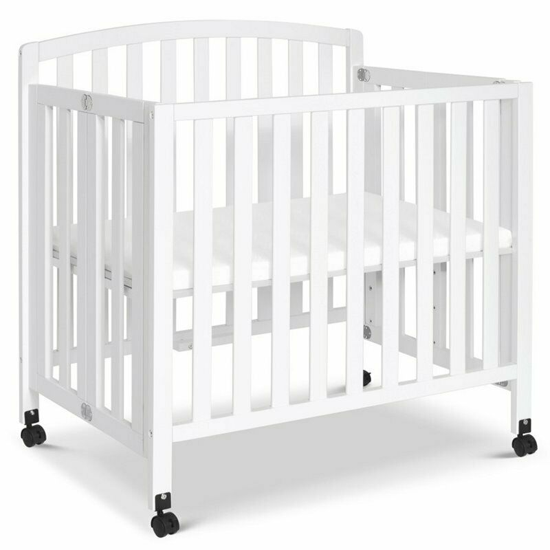 DaVinci Dylan Wood Portable Folding 3-In-1 Mini Crib and Twin Bed in White