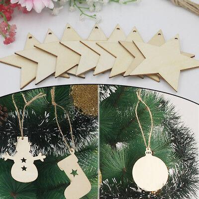Wooden Christmas Tree Decoration Craft Embellishments 10 Hanging Shape Tag Blank