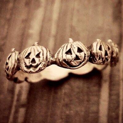 Halloween Wedding Gifts (Halloween Pumpkin Head Silver Women Men Wedding Engagement Ring Gifts Size)