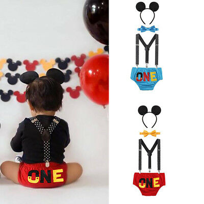 Baby Boy Mickey Mouse Costume 1st Birthday Cake Smash Outfits Suspenders Pants](Mickey Mouse 1st Birthday Outfit Boy)
