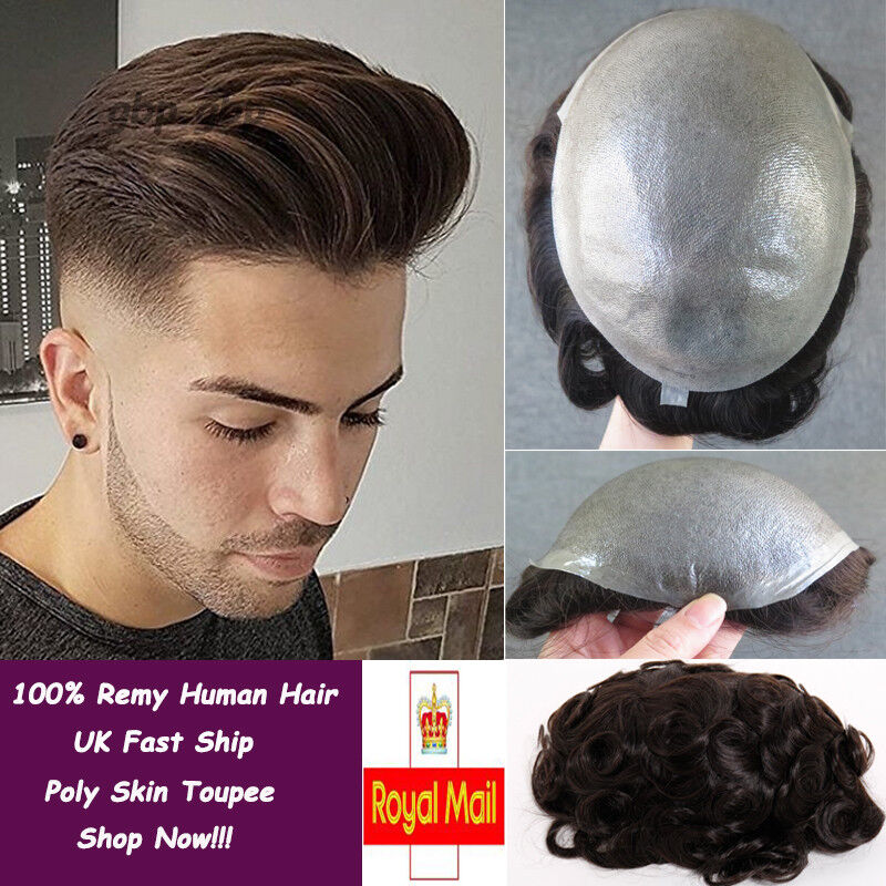 Thin Skin Toupee Mens Hairpieces Wig 100% Human Hair