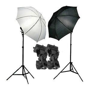 Photo Studio Flash Speedlite Umbrella Lighting Light Stand & 2 Bracket B Kit UK