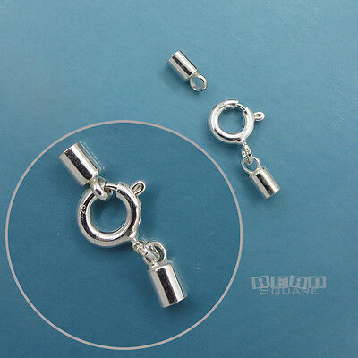 925 Sterling Silver Cord End Cap Connector w/ Spring Ring Clasp (3 Ring Clasp)