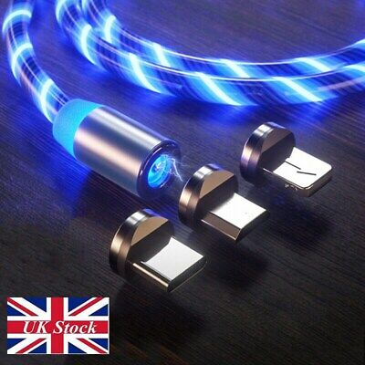 UK LED Flowing Lightup Magnetic Fast Charging Cable For Type-C Micro USB Charger
