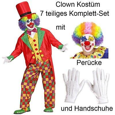KOSTÜM mit Handschuhe und Perücke Komplett-Set Gr.S-XL (Komplettes Clown Kostüm)