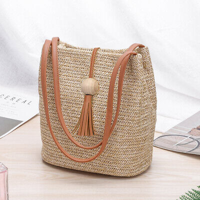 Women Boho Woven Handbag Tote Shoulder Bags*Summer Beach Casual Straw Wicker Bag Wicker Woven Handbag