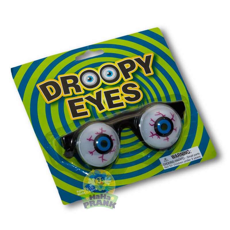 Droopy Eyes Costume Glasses - Funny Novelty Goofy Spring Eyes, be a Clown!