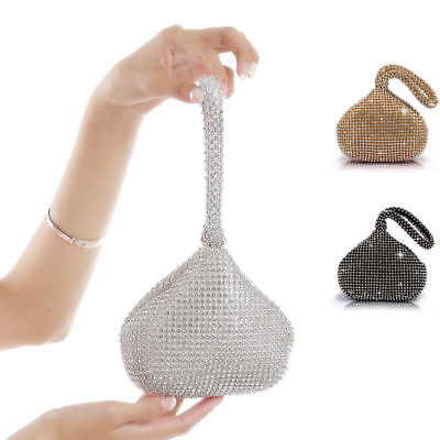 Women's Evening Clutch Bag Triangle Full Rhinestones Party Prom Wedding Purse ()
