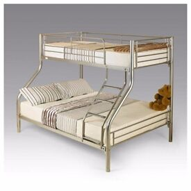 """""""SAME DAY EXPRESS DELIVERY"""" Alexa Trio Sleeper Metal Bunk Bed Frame And/Or With Variety Of Mattress*"""