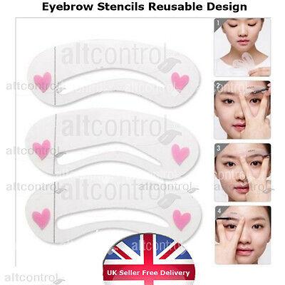 3 Eyebrow Shaping Stencils Grooming Kit Brow Make Up Set Brow Template Reusable - Brow Grooming Set