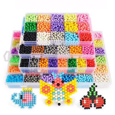6000pcs Aqua Beads Glitzer Basteln Kinder Bastelset Glitzerperlen Perlen HOT DE