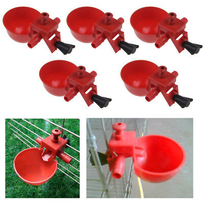 5X Bird Coop Feed Automatic Poultry Water Drinking Cups Chicken Fowl Drinker NEW