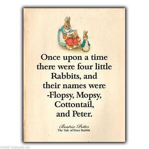 anuncion-de-metal-Placa-Pared-Peter-Rabbit-Beatrix-Potter-Cita-Impreso-Ninos