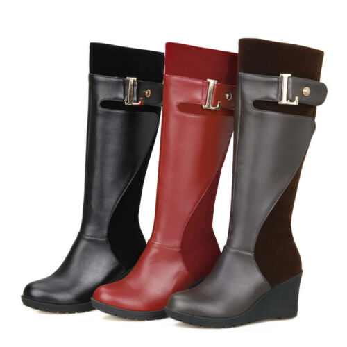 New Womens Knee-High Riding Boots Leather Wedge Heels Round Toe Gladiator Shoe L