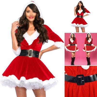 Xmas Sexy Lady Santa Claus Suit Christmas Costume Cosplay Outfit Waistbelt Dress