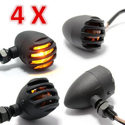 4X Black 12V Motorcycle Turn Signals Bullet Blinker Indicator Lights Amber Lamp