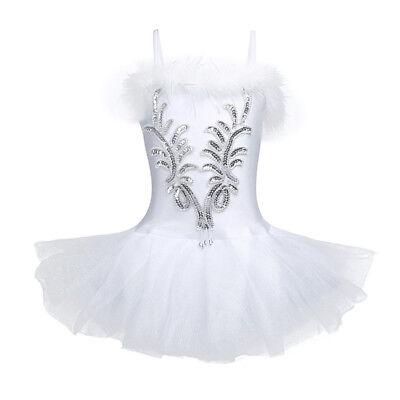 Mädchen Ballett Kleider Kinder Trikot Schwan Ballerina Tanz Kostüm Kleid Mode (Ballerina Kleid Kinder)