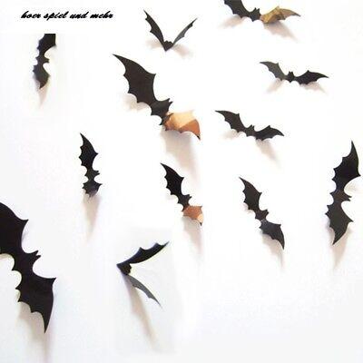 12 x 3D Fledermäuse Sticker Wandtattoo Wandsticker Wanddeko - Halloween Wandtattoos