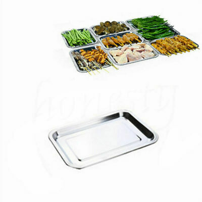 Stainless Steel BBQ Food Container Tray Rectangular Plate Grill Barbecue -