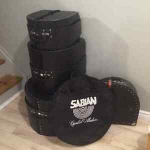 4 piece hard shell drum cases, soft shell cymbal bag. *like new*